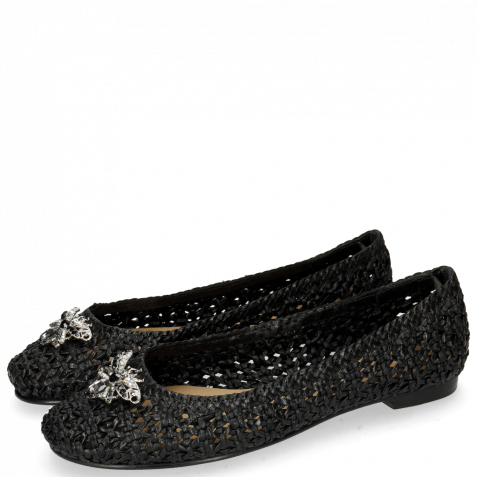 Ballerinas Kate 5 Woven Black Raffia Accessory Bee