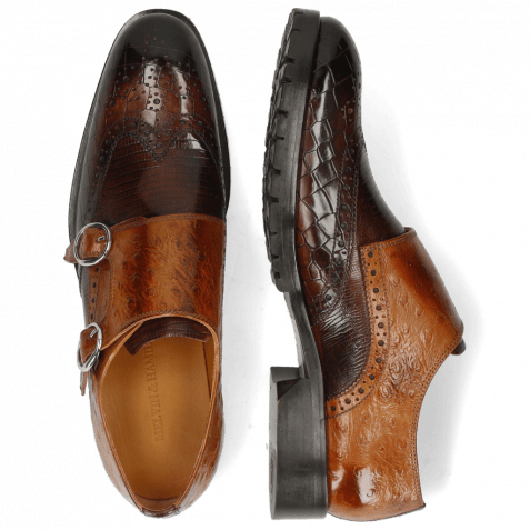 Monk Schuhe Patrick 24 Crock Mogano Guanna Mid Brown Ostrich Tan