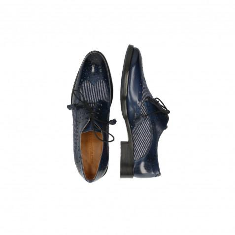 Derby Schuhe Betty 3 Mock Navy Textile Lines Blue Navy