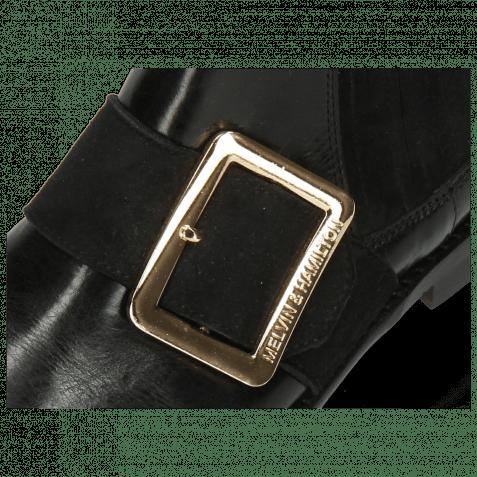Stiefeletten Selina 46 Black Suede Strap Gold