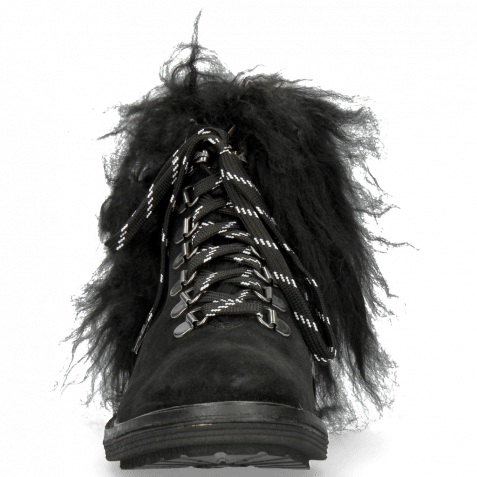Stiefeletten Amelie 79 Suede Pattini Black Collar Fur Mongolian