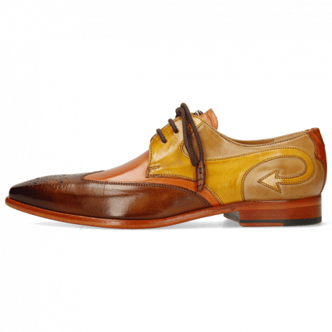 Derby Schuhe Elvis 63 Wood Arancio Sun