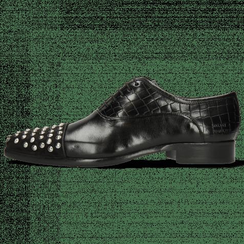 Oxford Schuhe Lance 23 Suede Pattini Crock Black Rivets