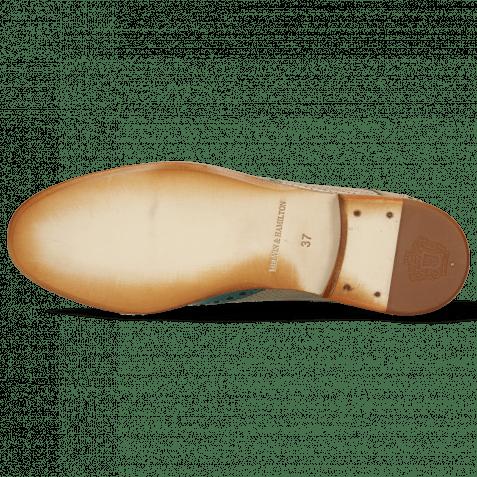 Derby Schuhe Amelie 3 Onda Perfo Light Grey Mid Green Sol