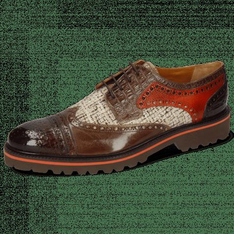 Derby Schuhe Henry 7 Baby Croco Mogano Mink Chestnut Textile