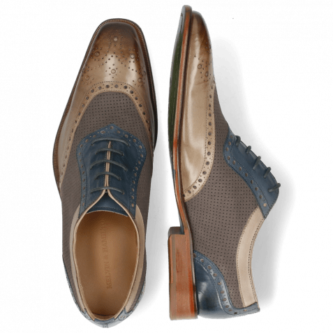 Oxford Schuhe Clark 16 Digital Nubuck Perfo Stone Mock Navy