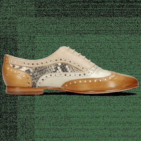 Oxford Schuhe Sonia 1 Vegas Sabbia Talca Platin Glove Nappa Ivory Snake