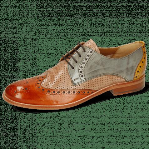Derby Schuhe Amelie 3 Arancio Perfo Make Up Satellite Ocra