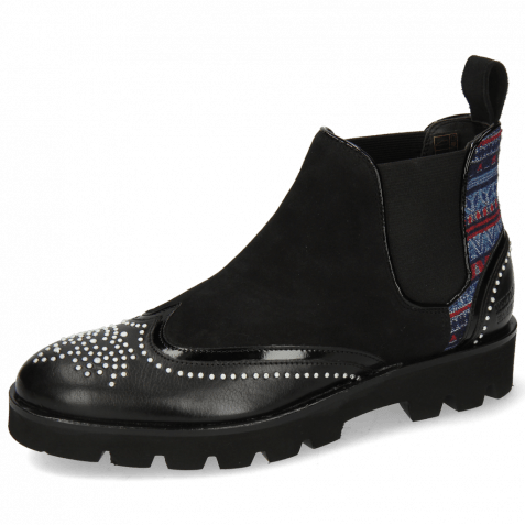 Stiefeletten Sally 19  Black Patent Sheep Suede Quilesa