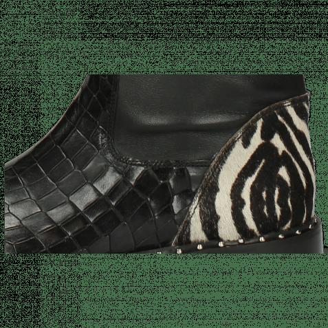 Stiefel Susan 79 Crock London Fog Stretch Nappa Black Hairon New Zebra