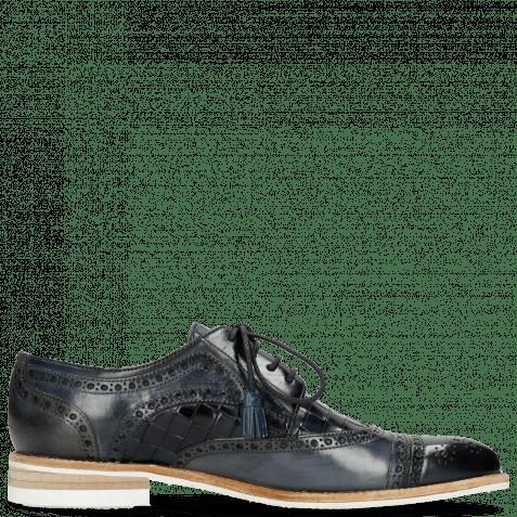 Derby Schuhe Henry 7 Navy Wind Sky Blue Woven