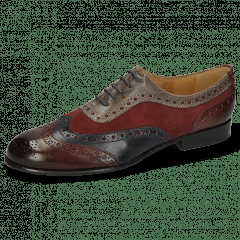Oxford Schuhe Sally 97 Wine Navy Sheep Suede Wine Grigio