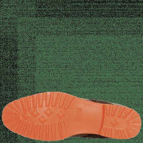 Derby Schuhe Eddy 25R Big Croco Brown Embrodery