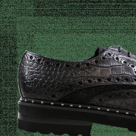 Derby Schuhe Matthew 4 Big Croco Hair On Black Black Aspen EVA Black Rivets