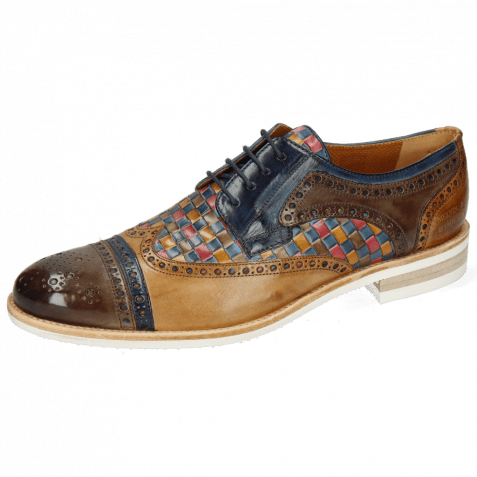 Derby Schuhe Henry 7 Stone Marine Sabbia Woven Multi