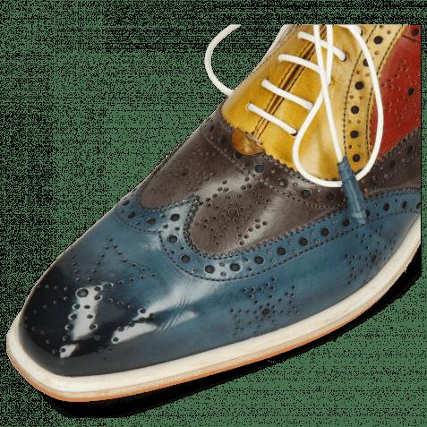 Oxford Schuhe Jeff 28 Ice Lake Deep Steel Indy Yellow Rubino Khaki