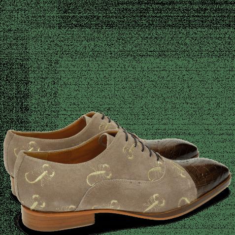 Oxford Schuhe Ricky 9 Crock Suede Smoke Gold