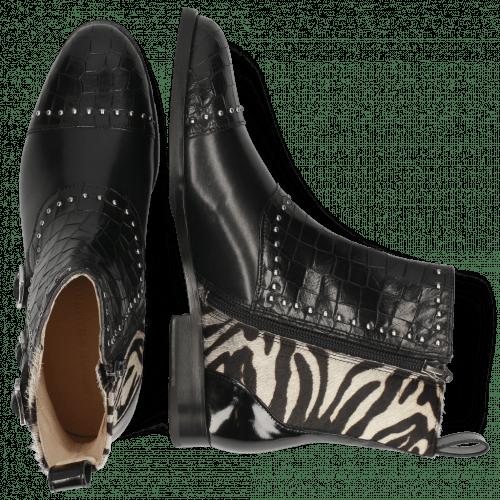Botki Susan 45 Crock Black Hairon New Zebra