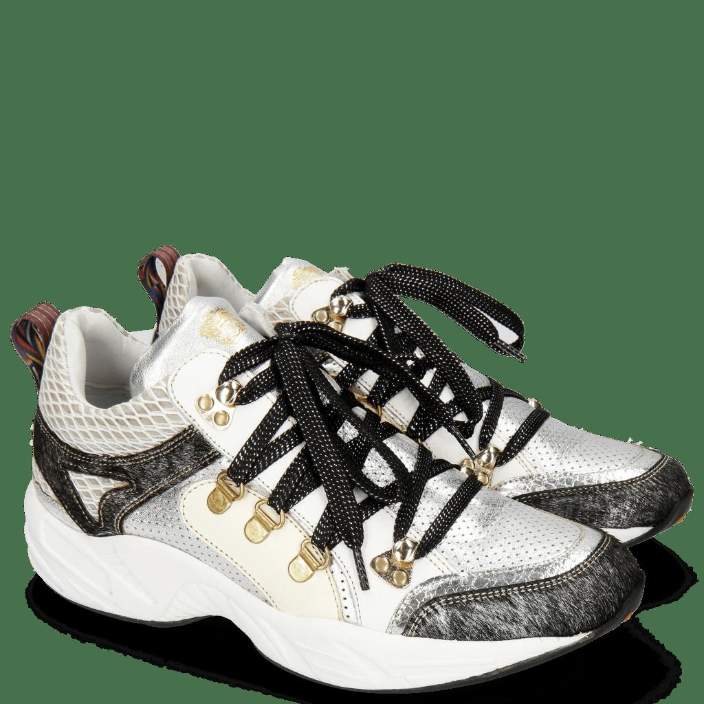 Sneakersy Romy 1 Hairon Breeze Cromia Talca Perfo Silver Milled White