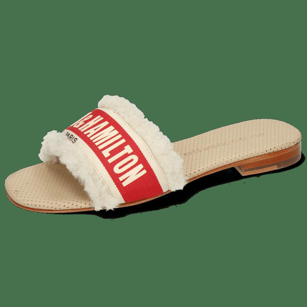 Mule Nikita 4 Sherling Beige Strap Red Off White