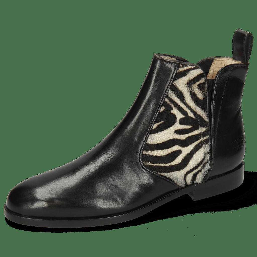 Botki Susan 34 Black Hairon Zebra Elastic