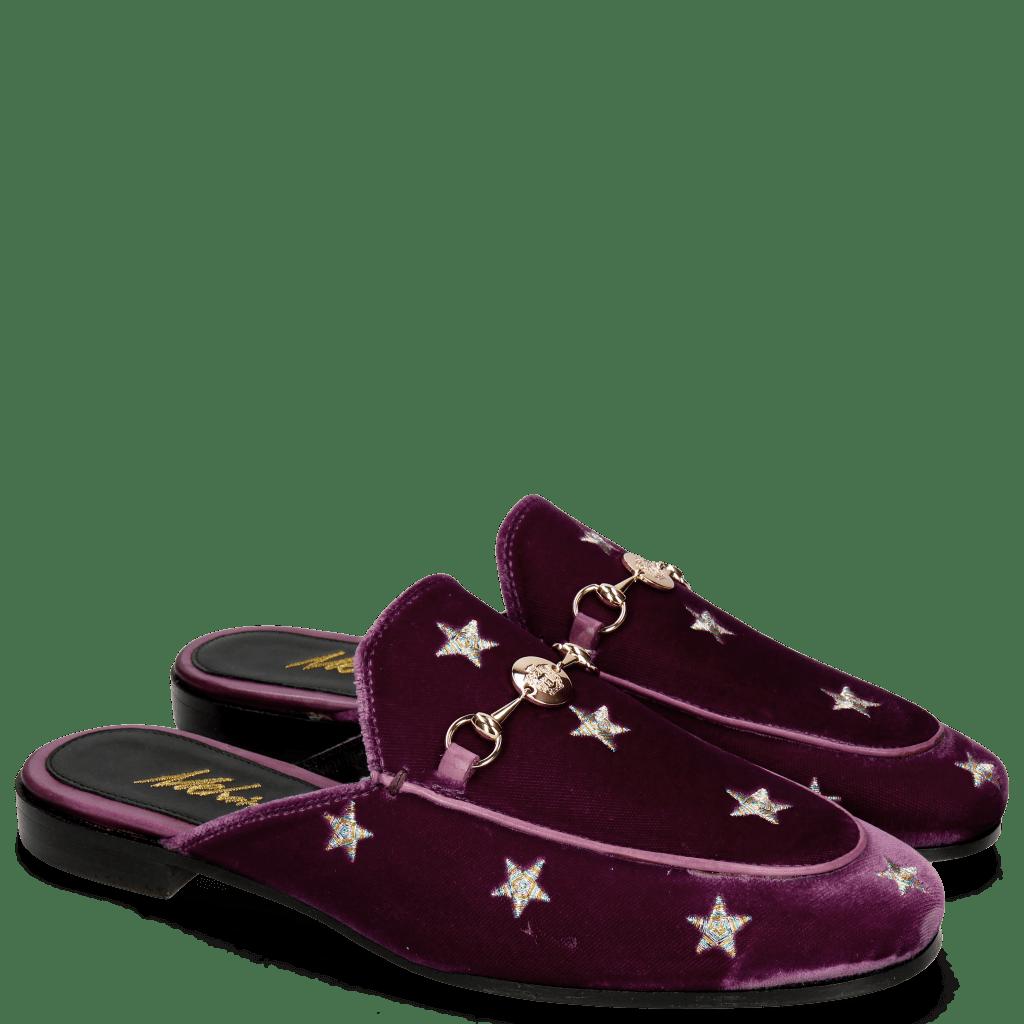 Mule Scarlett 10 Velluto Viola Embroidery Stars