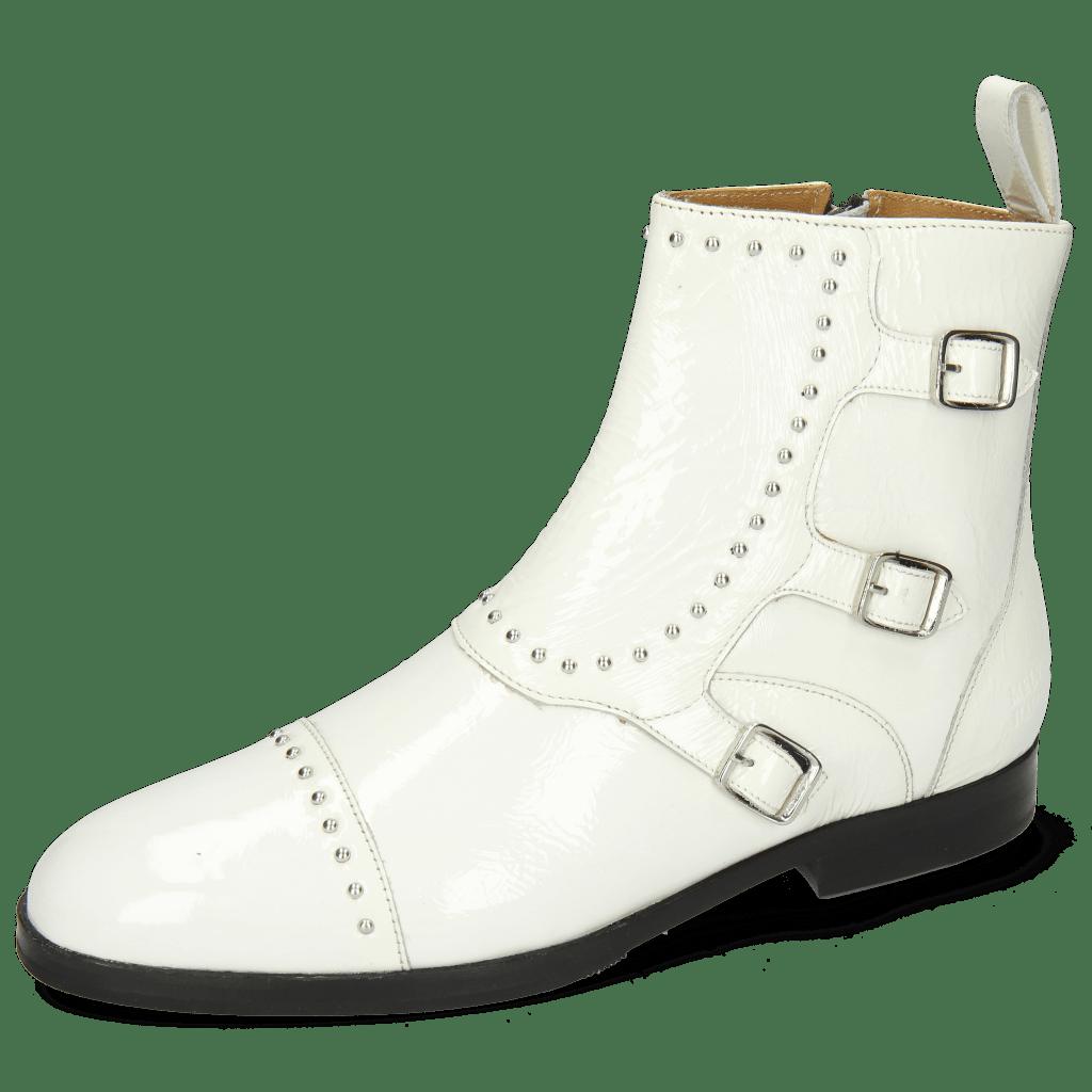 Botki Susan 45 Soft Patent White Rivets