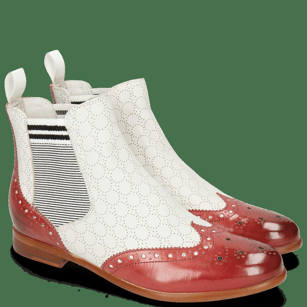 Botki Selina 6 Ruby Nappa Perfo White