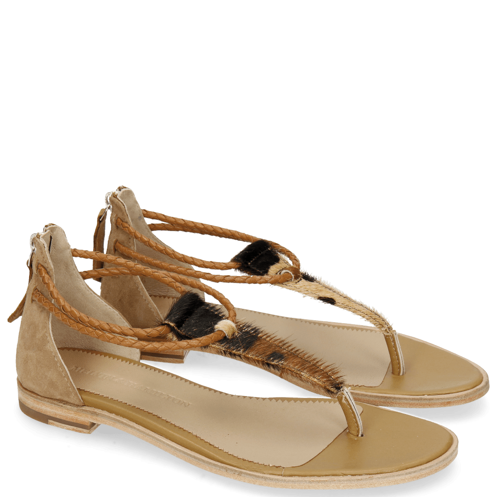 Sandały Sandra 39 Hairon Camo Suede Camel