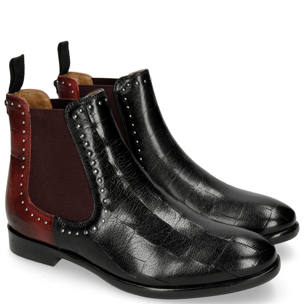 Botki Daisy 6 Turtle Black Red Rivets