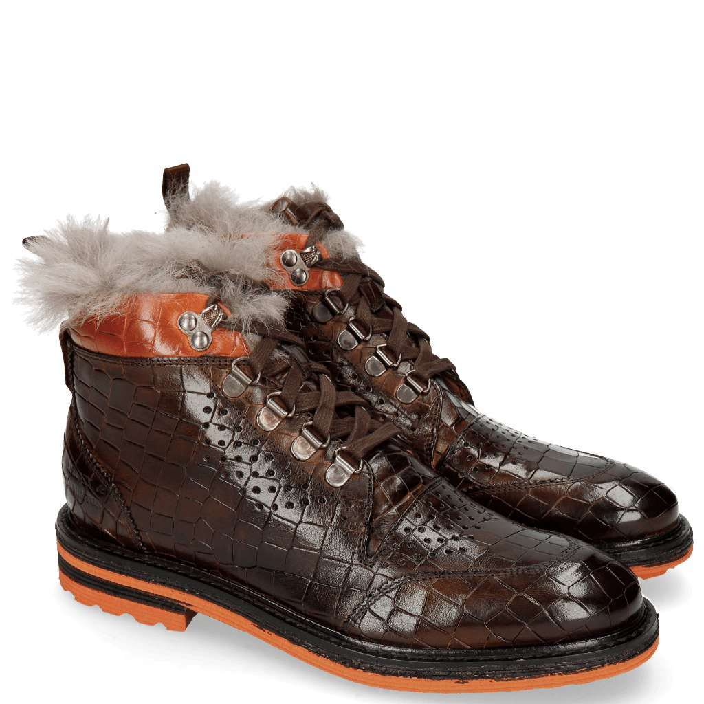 Botki Amelie 23 Crock Mid Brown Winter Orange Backloop