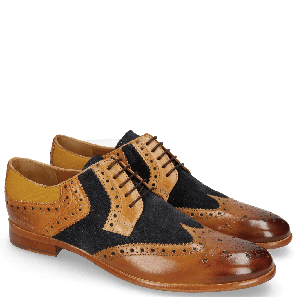 Derby Clint 19 Tan Nubuck Perfo Deep Navy