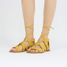 Sandały Sandra 11 Suede Chilena Woven Yellow Footbed
