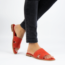 Mule Elodie 20 Parma Suede Orange Rivets