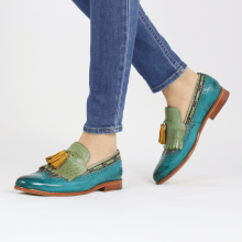 Mokasyny Selina 3 Turquoise New Grass Textile Bambino