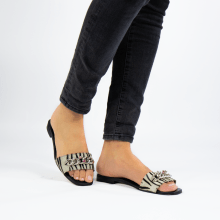 Mule Elodie 15 Hairon Young Zebra Black