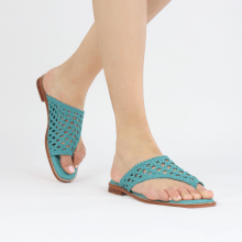 Mule Elodie 16 Mignon Open Woven Turquoise