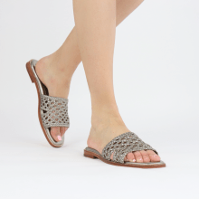 Mule Elodie 20 Mignon Open Woven Pewter