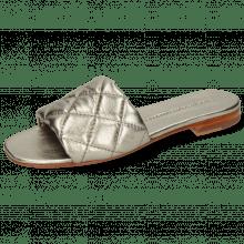 Mule Elodie 37 Metallic Nappa Pewter Footbed