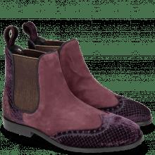 Botki Giulia 2 Velluto Dark Purple Suede Chilena Deep Pink