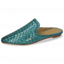 Mule Lydia 2 Woven Scale Turquoise Lining