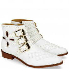 Botki Marlin 28 Nappa White Rivets Gold