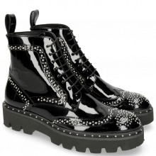 Botki Sally 120 Patent Black Rivets