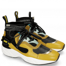 Sneakersy Mandy 1 Milled Yellow Cromia Gold Nappa Black Suede Pattini Mustic
