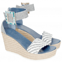 Sandały Abby 2 Denim Light Blue Raffia White