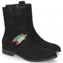 Botki Jessy 29 Oily Suede Black Embrodery Feather