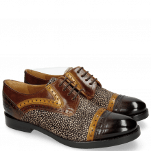 Derby Amelie 19 Mid Brown Yellow Hairon Halftone Mogano Insole Brown