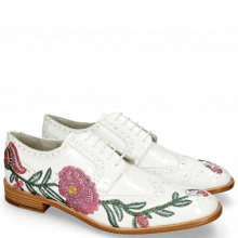 Derby Eddy 38 Soft Patent White Embroidery Flowers