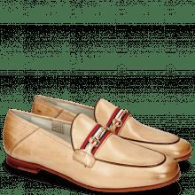 Mokasyny Scarlett 45 Glove Nappa Ivory Binding Tan Trim Gold