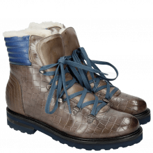 Botki Bonnie 10 Crock Stone Summer Mid Blue Full Fur Lining Aspen Navy